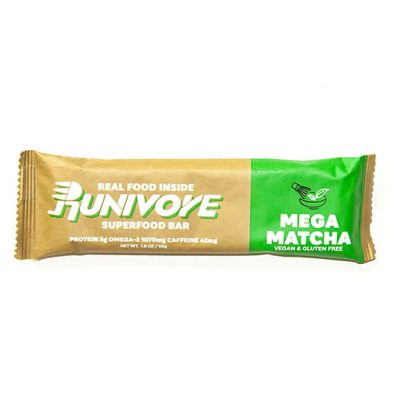 Runivore Mega Matcha Superfood Bar (1 Bar) – Caffeine boost and Antioxidant Power of Green Tea in a Delicious Bar